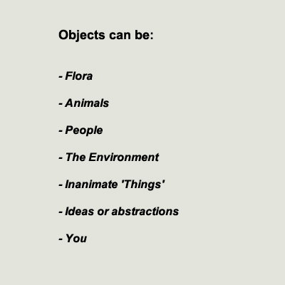 Objects can be flora, animals, people, the environment, inanimate things, ideas or abstractions, you.