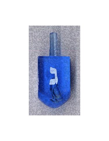 Blue Gimel Dreidel from Kenneth Hemmerick's Scanned Chanukah Series where he scanned translucent dreidels on a flatbed scanner.
