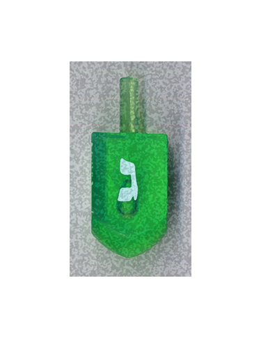 Green Gimel Dreidel from Kenneth Hemmerick's Scanned Chanukah Series where he scanned translucent dreidels on a flatbed scanner.