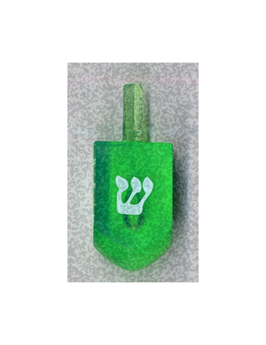 Green Shin Dreidel from Kenneth Hemmerick's Scanned Chanukah Series where he scanned translucent dreidels on a flatbed scanner.
