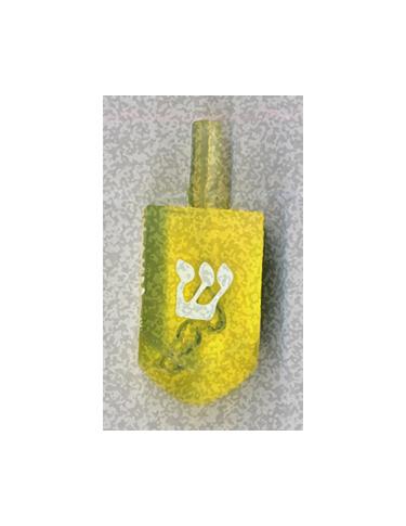 Yellow Shin Dreidel from Kenneth Hemmerick's Scanned Chanukah Series where he scanned translucent dreidels on a flatbed scanner.