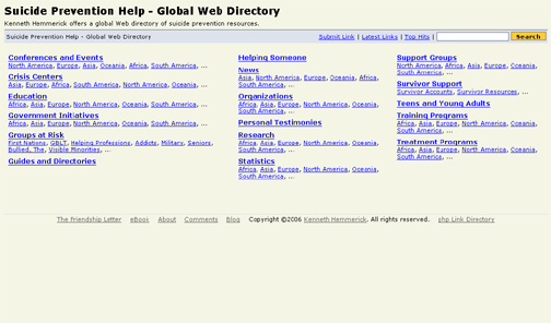 Kenneth Hemmerick's Suicide Prevention Help Global Web Directory.