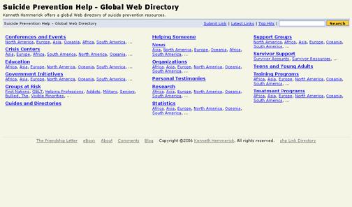 Kenneth Hemmerick's Suicide Prevention Help Global Web Directory.